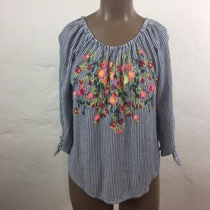💐 BLUE RAIN Floral Embroidered STRIPED Tunic TOP